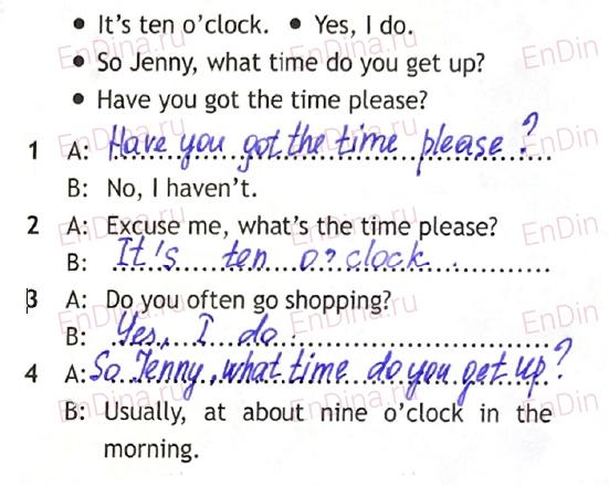 Spotlight 5. Workbook - Module 6. 6a Wake up!, ответ 4