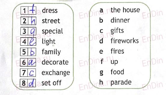 Spotlight 5. Workbook - Module 8. 8a Celebrations, ответ 2
