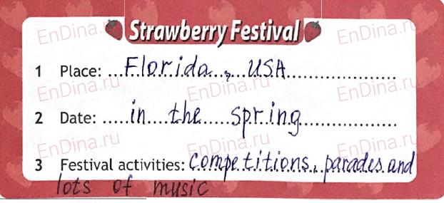Spotlight 5. Workbook - Module 8. 8d Writing (an article about a festival), ответ 2