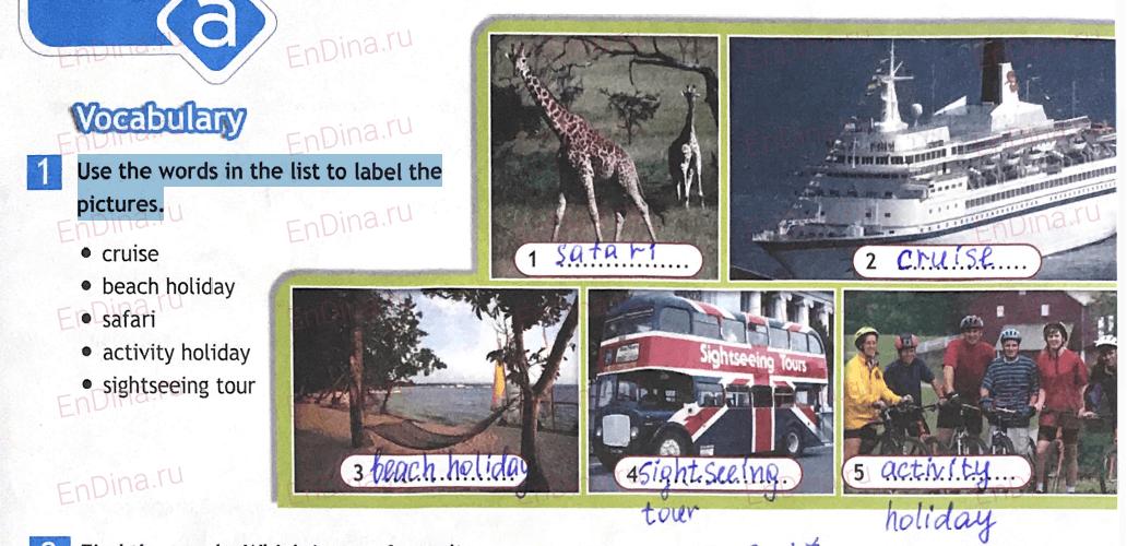 Spotlight 5. Workbook - Module 10. 10a Travel&leisure, ответ 1